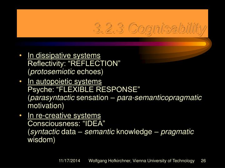 3.2.3 Cognisability