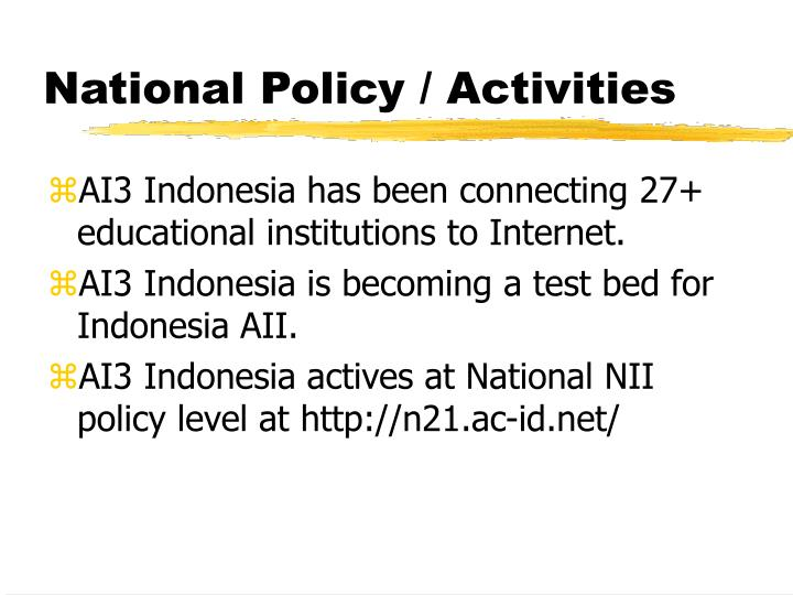 National Policy / Activities