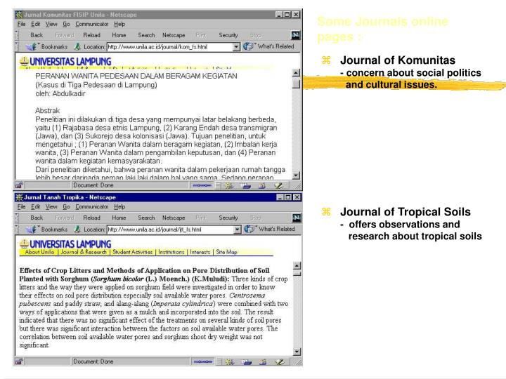 Some Journals online pages :