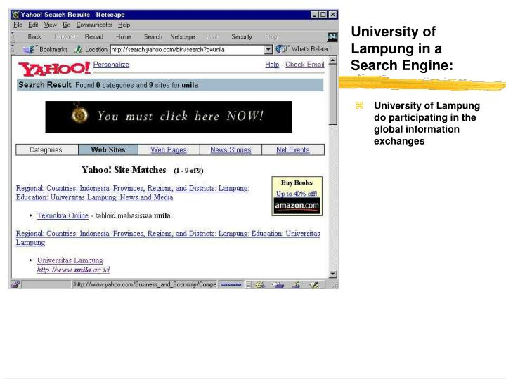 University of Lampung in a Search Engine:
