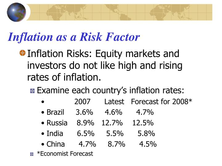 Inflation as a Risk Factor