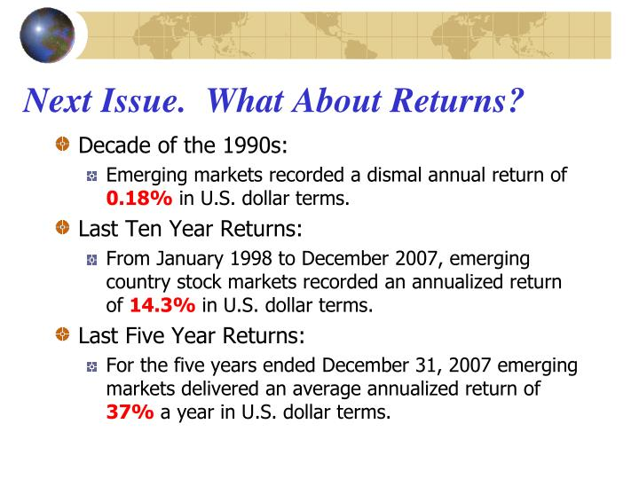 Next Issue.  What About Returns?