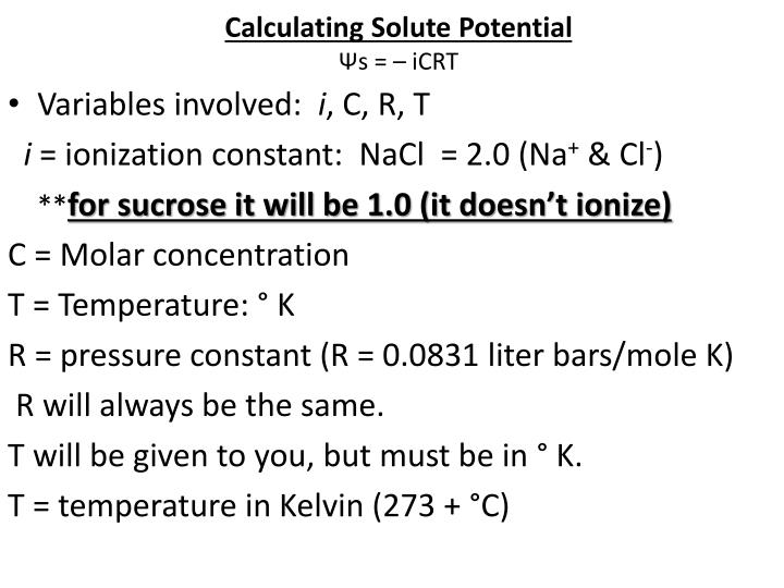 Calculating Solute Potential