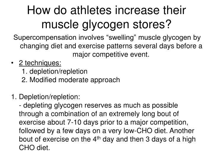 How do athletes increase their muscle glycogen stores?