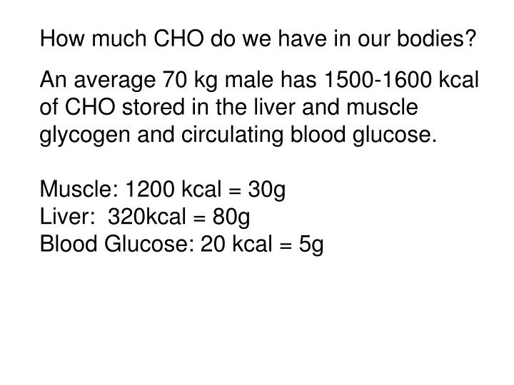 How much CHO do we have in our bodies?