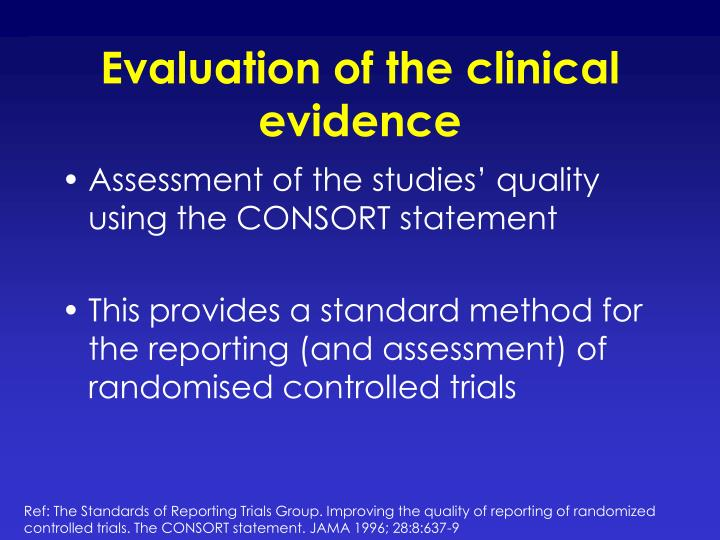 Evaluation of the clinical evidence