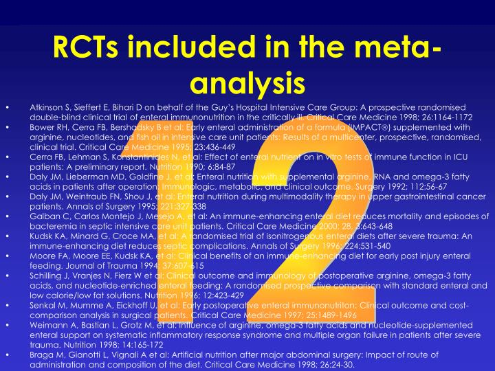 RCTs included in the meta-analysis