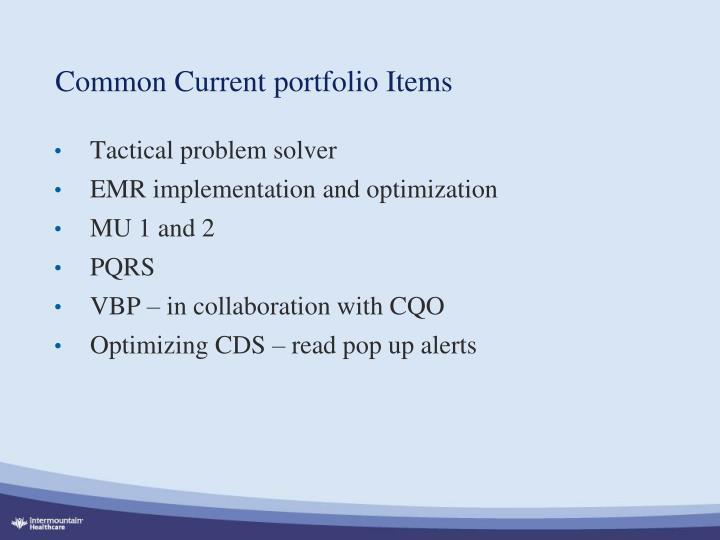 Common Current portfolio Items