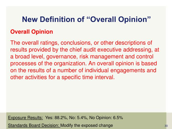 "New Definition of ""Overall Opinion"""