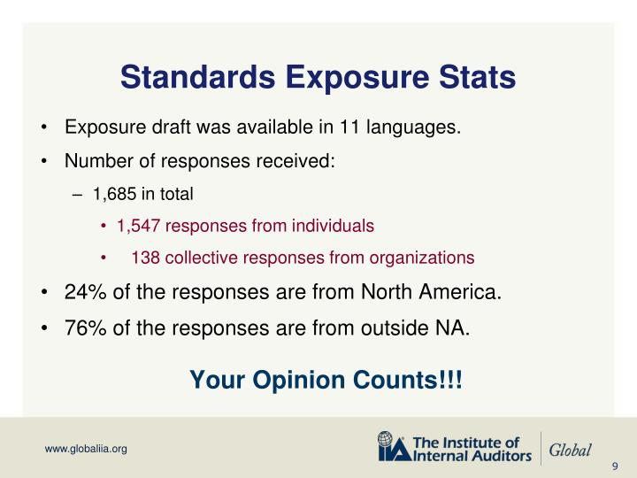 Standards Exposure Stats