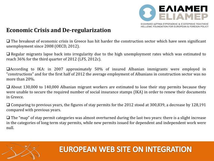 Economic Crisis and De-regularization