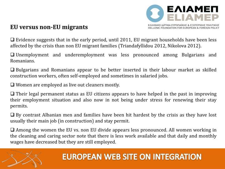 EU versus non-EU migrants