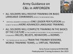 army guidance on c l in arforgen