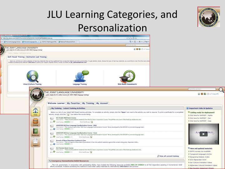 JLU Learning Categories, and Personalization
