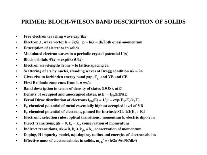 PRIMER: BLOCH-WILSON BAND DESCRIPTION OF SOLIDS