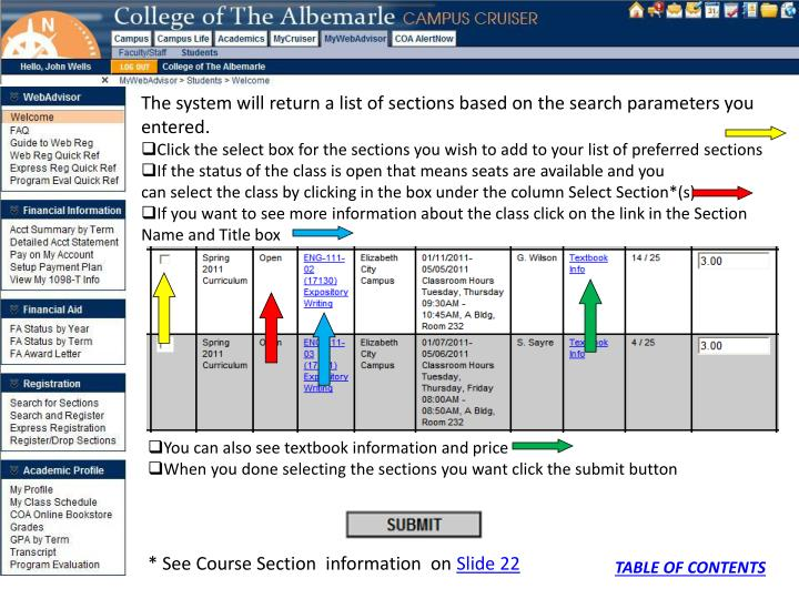 The system will return a list of sections based on the search parameters you entered.