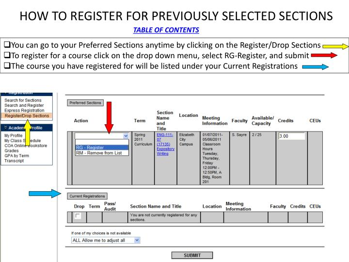 HOW TO REGISTER FOR PREVIOUSLY SELECTED SECTIONS