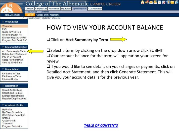 HOW TO VIEW YOUR ACCOUNT BALANCE