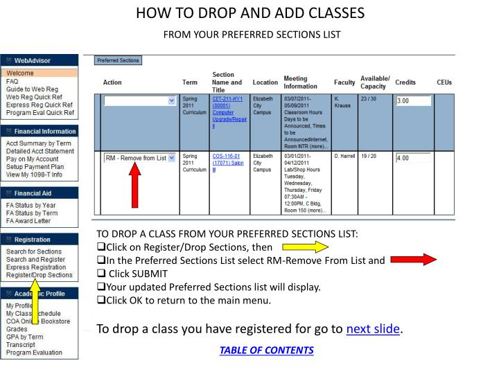 HOW TO DROP AND ADD CLASSES