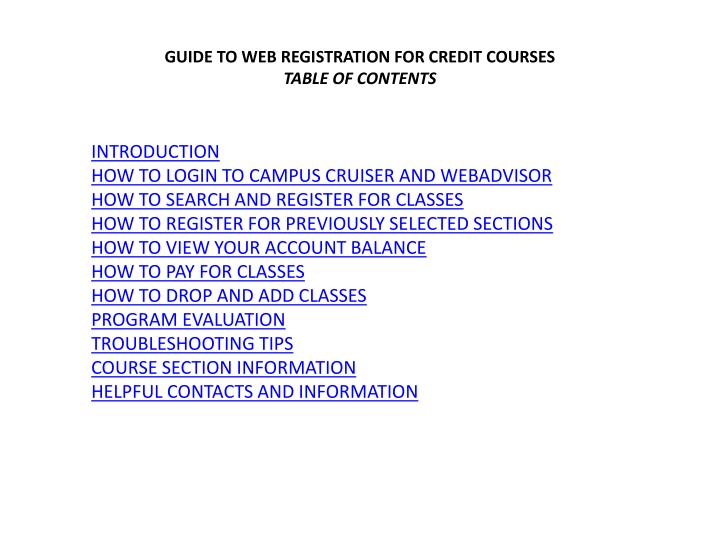 GUIDE TO WEB REGISTRATION FOR CREDIT COURSES