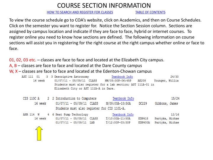 COURSE SECTION INFORMATION