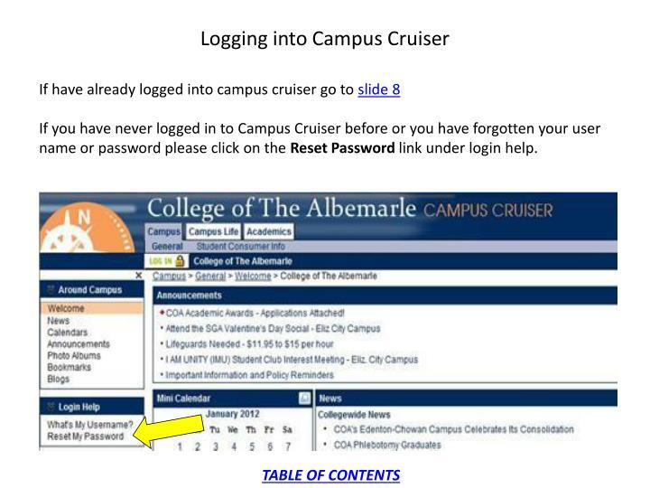 Logging into Campus Cruiser