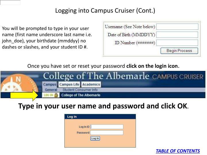Logging into Campus Cruiser (Cont.)