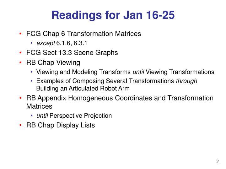 Readings for Jan 16-25