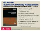 gtag 10 business continuity management restoring critical business processes after a disaster