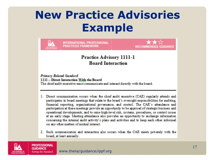 New Practice Advisories