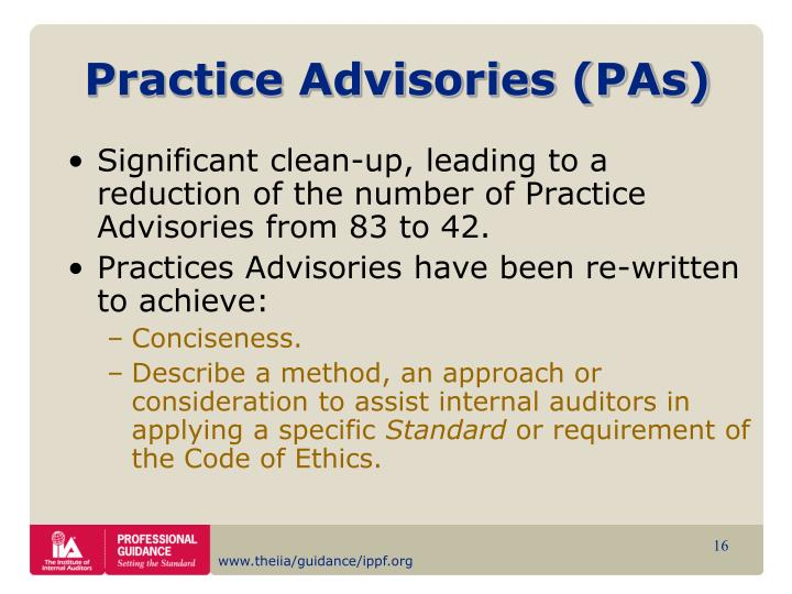 Practice Advisories (PAs)