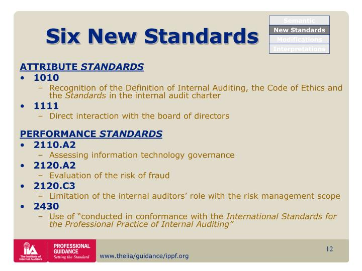 Six New Standards