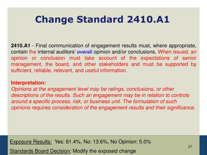 Change Standard