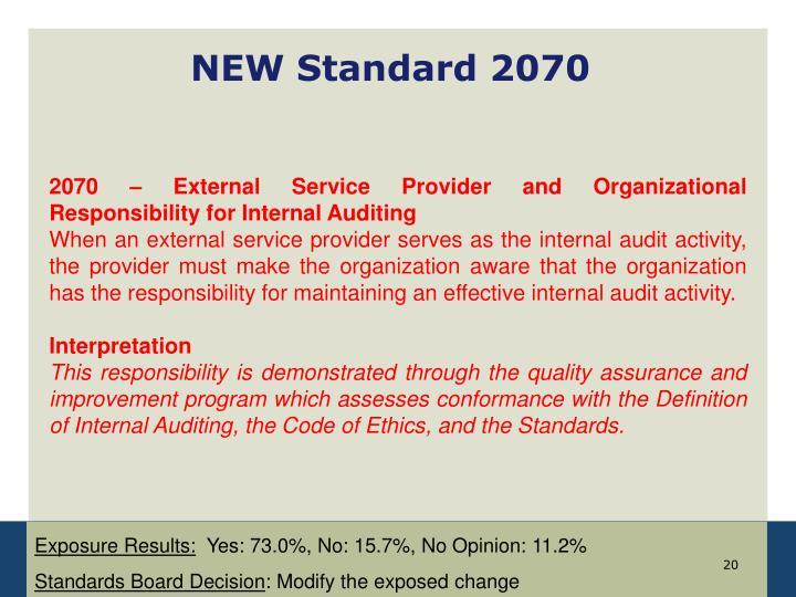 NEW Standard 2070