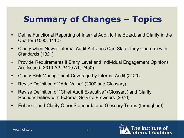 Summary of Changes – Topics