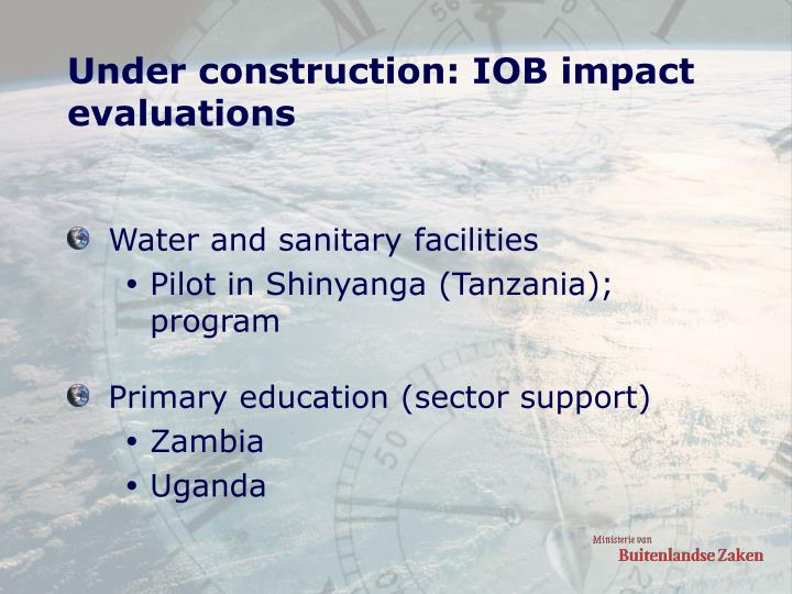 Under construction: IOB impact evaluations