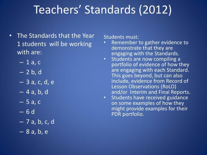 Teachers' Standards (2012)