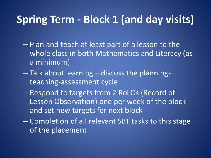 Spring Term - Block 1 (and day visits)