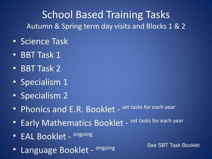 School Based Training Tasks