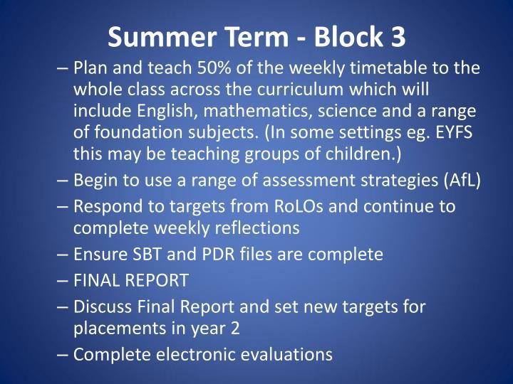 Summer Term - Block 3