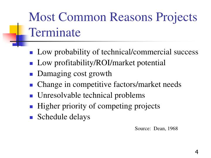 Most Common Reasons Projects Terminate