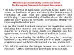 methodologies sustainability livelihoods model the conceptual framework for impact assessment
