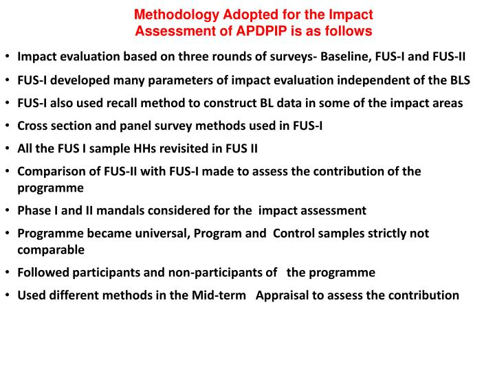 Methodology Adopted for the Impact