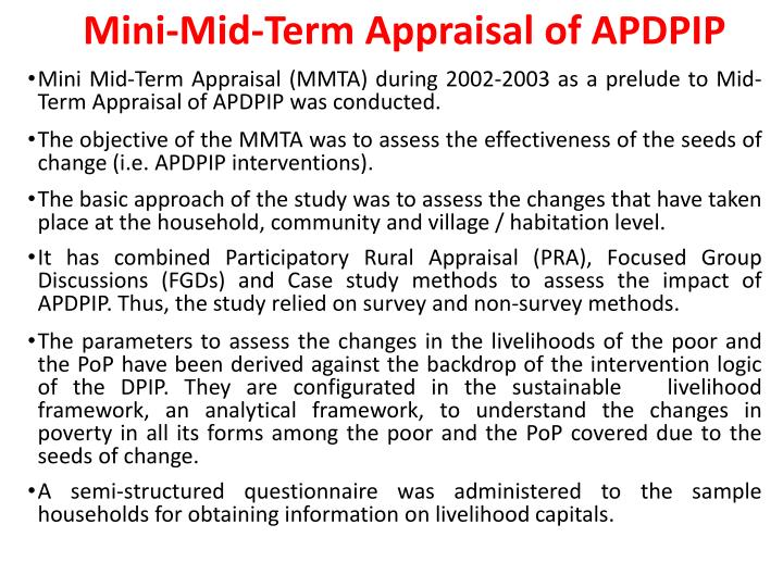 Mini-Mid-Term Appraisal of APDPIP