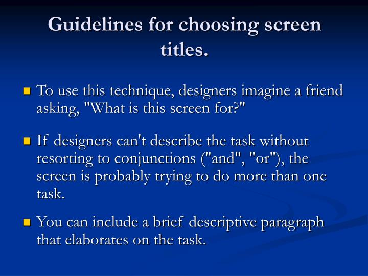 Guidelines for choosing screen titles.