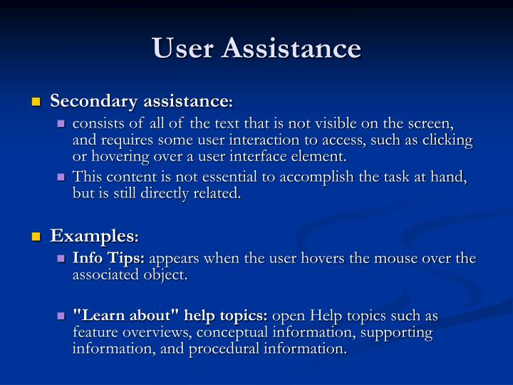 User Assistance