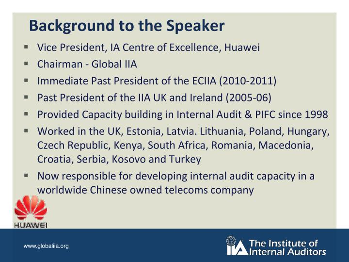 Background to the speaker