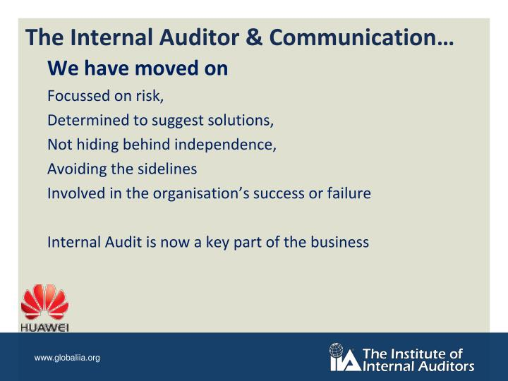 The Internal Auditor & Communication…