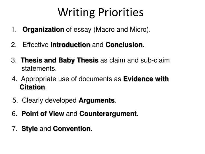 Writing Priorities
