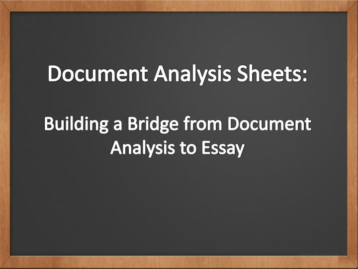 Document Analysis Sheets:
